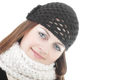 Girl in black woven hat and scarf Royalty Free Stock Photos