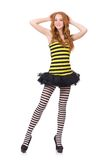 A girl in black and yellow striped dress isolated Royalty Free Stock Photos
