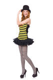 A girl in black and yellow striped dress isolated Royalty Free Stock Photography