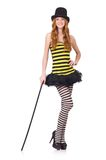 A girl in black and yellow striped dress isolated Stock Photos