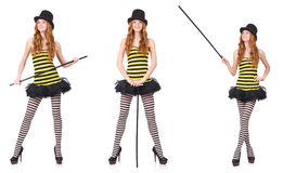 The a girl in black and yellow striped dress isolated on white Stock Photos