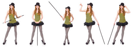 The a girl in black and yellow striped dress isolated on white Royalty Free Stock Photo
