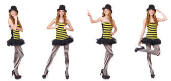 The a girl in black and yellow striped dress isolated on white Royalty Free Stock Photos