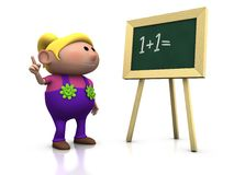 Girl with blackboard. 3d rendering/illustration of a cute cartoon girl looking at a blackboard and raising her hand stock illustration