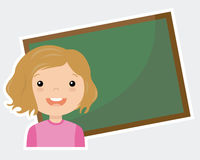 Girl with blackboard. Blank space for writing Stock Photos