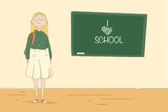 Girl at the blackboard. Pupil in the school. Vectror illustration Royalty Free Stock Photography