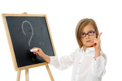 Girl at the Blackboard with Question Mark Stock Images