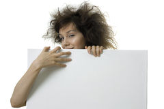 Girl with blank banner Royalty Free Stock Images