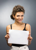 Girl with blank Royalty Free Stock Photography