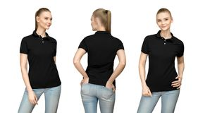 Girl in blank black polo shirt mockup design for print and template woman in T-shirt front half turn side back view isolated. Set promo pose girl in blank black Royalty Free Stock Photos