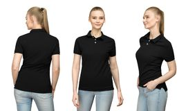 Girl in blank black polo shirt mockup design for print and template woman in T-shirt front half turn side back view isolated. Set promo pose girl in blank black Stock Images