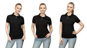 Girl in blank black polo shirt mockup design for print and template young woman in T-shirt front and half turn side view isolated. Set variations promo pose girl Stock Photo