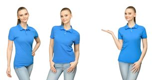 Girl in blank blue polo shirt mockup design for print and concept template young woman in T-shirt front and half turn side view. Set promo pose girl in blank Royalty Free Stock Image
