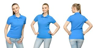 Girl in blank blue polo shirt mockup design for print and concept template young woman in T-shirt front and side back view. Set promo pose girl in blank blue royalty free stock images