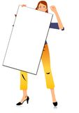 Girl with blank board Stock Images