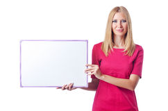 Girl with blank board Stock Photo