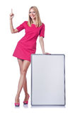 Girl with blank board Royalty Free Stock Photo