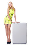 Girl with blank board Stock Image