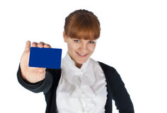 Girl with blank card Stock Photos