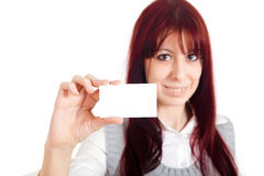 Girl blank card Royalty Free Stock Image