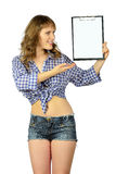 Girl with blank clipboard. Royalty Free Stock Photography