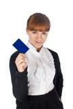 Girl with blank coupon Stock Photos