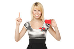 Girl with blank credit card Stock Photography
