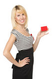 Girl with blank credit card Stock Photo