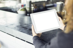 Girl with blank digital tablet in cafe Stock Photography
