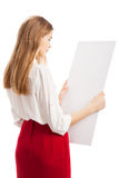 The girl with a blank form Stock Photography