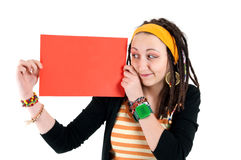 Girl and blank paper Stock Photography