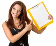 Girl with blank paper Stock Image