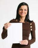 Girl with blank placard. Smiling girl with blank banner Royalty Free Stock Photography