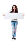 Girl with blank placard board Royalty Free Stock Photo