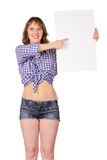 Girl with blank poster. Royalty Free Stock Image