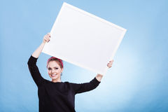 Girl with blank presentation board Royalty Free Stock Images