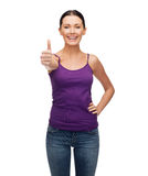 Girl in blank purple tank top with crossed arms Stock Image
