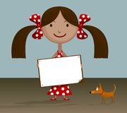 Girl with blank sign. Stock Images