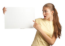 Girl with blank signboard Stock Photography