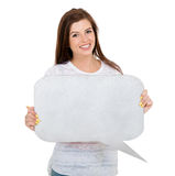 Girl blank text bubble royalty free stock photography