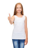 Girl in blank white shirt showing thumbs up Stock Images