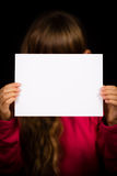 Girl with blank white sign Royalty Free Stock Photo