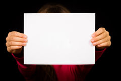Girl with blank white sign Stock Images