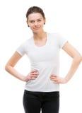 Girl in blank white t-shirt Stock Image