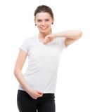 Girl in blank white t-shirt Royalty Free Stock Photo