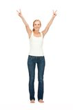 Girl in blank white t-shirt showing victory sign Stock Photo