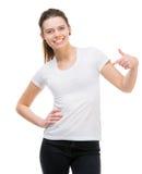 Girl in blank white t-shirt Stock Photos
