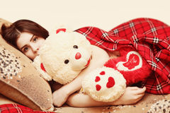 Girl with a blanket Royalty Free Stock Photos