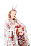 Girl with blanket hold holiday present isolated Stock Photos