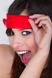 Girl with a blindfold Stock Photography